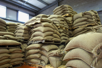 Bags of coffee beans
